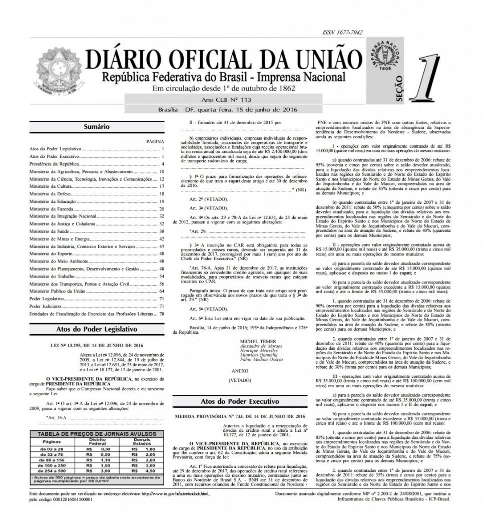 Diário Oficial da União mostra lei com vetos aos artigos sobre renegociação de dívidas