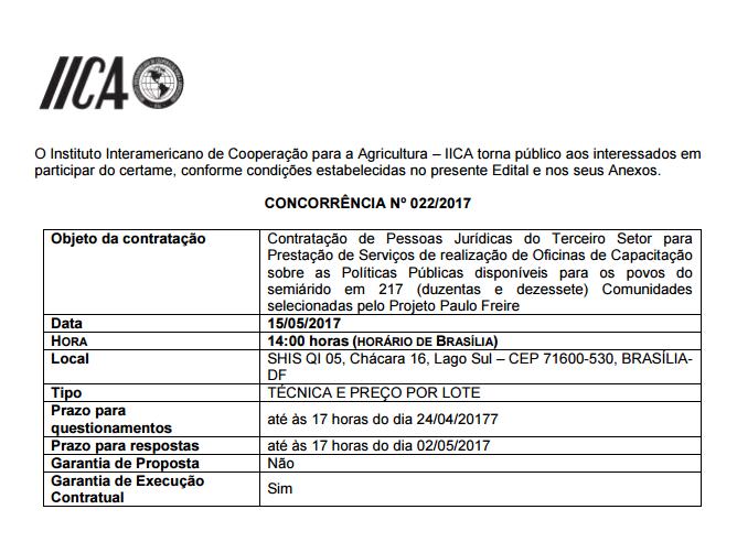 IICA selecao projeto paulo freire capacitação